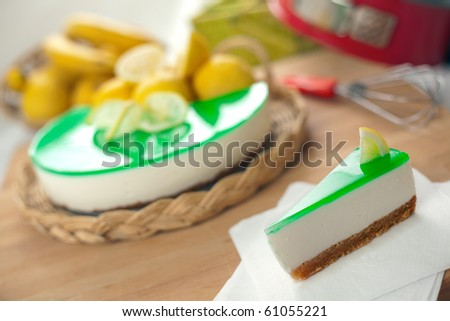 A no bake ricotta and lemon cheesecake with fresh fruits and shallow depth of field on the dessert