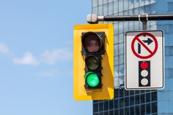 A No Right Turn On Red pictograph sign next to a traffic signal showing a green go light