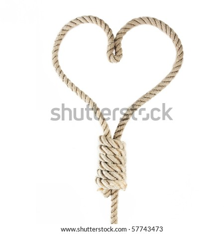a noose in the shape of heart isolated on white