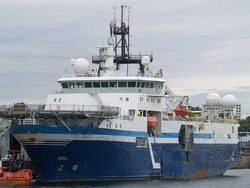 A Norwegian seismic research vessel lies at Ogdon Point wharf off of Victoria BC.  Length: 105 m  Gross Tonnage: 9811 Launched: 1993 as a trawler and refit to current application 2007