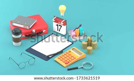 A note board surrounded by a calculator, a coffee mug, silver, chart and a briefcase on a blue background.-3d rendering.