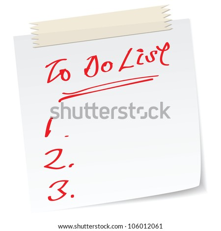 a note with handwritten message as to do list.