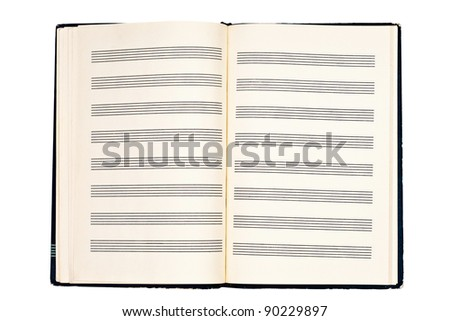 a notebook for musical notes isolated on a white background