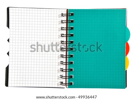 A notebook for records is isolated on a white background
