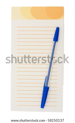 A notepad with a pen isolated on a white background, taking notes