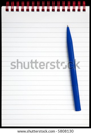 A notepad with red rings and a blue pen on a black background.