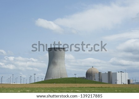A nuclear power plant in a rural area.