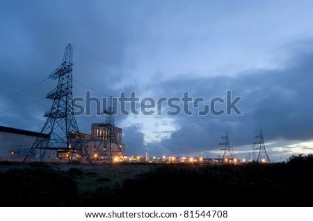 a nuclear power station at dawn