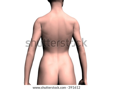 stock photo : A nude women from back, spinal cord.