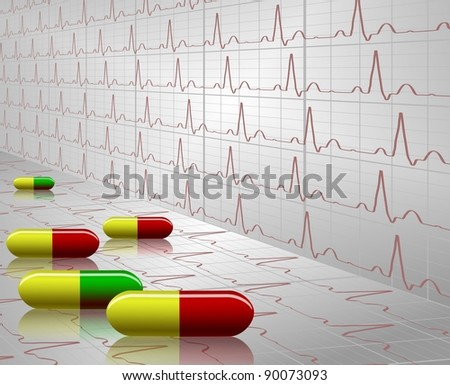 A number of colorful tablets with an ECG graph in the background / Tablets and ECG