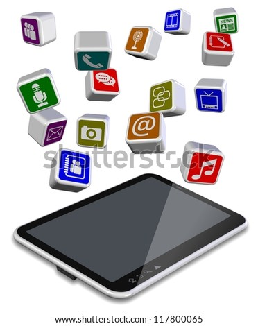 A number of different application icons flying above tablet PC / Tablet PC apps