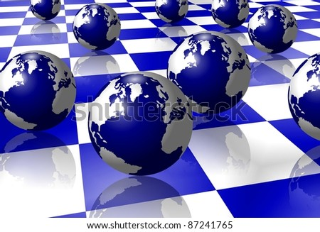 A number of globes positioned on a white and blue tiled floor / Earth on floor
