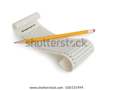 A numbered empty shopping list with a pencil.