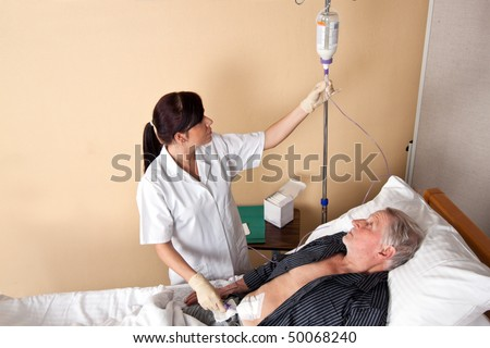 A nurse gave a patient an infusion