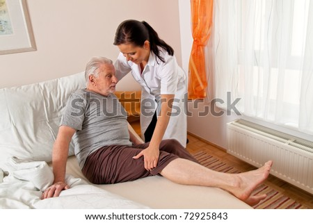 stock photo : a nurse in aged care for the elderly in nursing homes