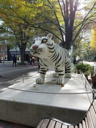 A object of white tiger in Tokyo, Japan.