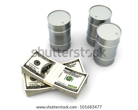 A oil barrell with Dollar notes. 3D rendered Illustration. Isolated on white.