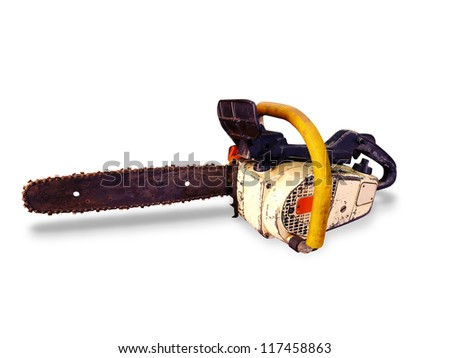 A old chainsaw - stock photo