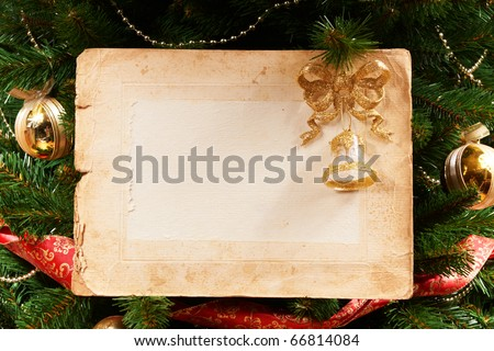 a old paper on x-mas tree as a background or texture