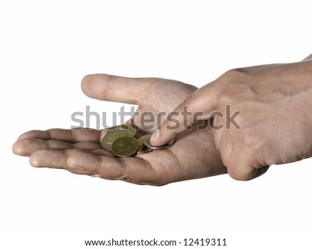 A one hand counting Euro coins on other. White background.