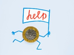 A one pound coin lies on sheet of light blue paper. Hands and feet are drawn with pencil, runs with white flag on which the word help is written. Illustration about public assistance in Great Britain