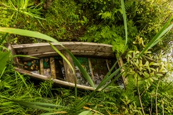 a one submerged old wooden boat on the shore of the Krugle lake, Shatsk National Natural Park, Volyn region of Western Ukraine. Krugle is translated from Ukrainian as Round