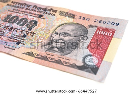 A one thousand rupee note (Indian Currency) isolated on a white background.