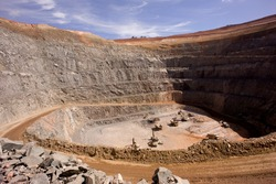 a open cut mine pit in Australia.the mine produces gold and copper.
