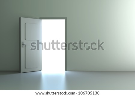 A open door in a empty room. 3D rendered illustration.