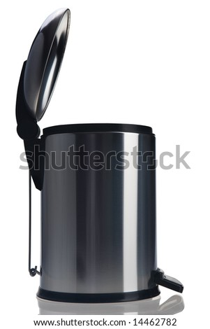 a opened pedal bin on white background