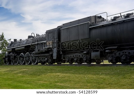 "A ""4-8-4"", or ""Northern"" type steam train engine built by ""The Montreal Locomotive Works"" for Canadian National Railways in 1942."