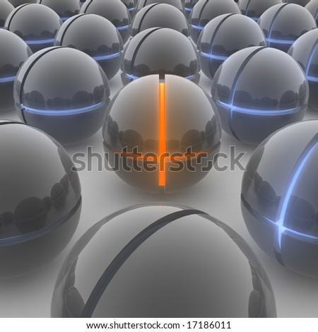 A orange glowing ball is standing out from the crowd