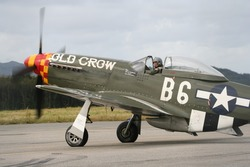 A P51 Mustang (Old Crow) ready to taxi for takeoff