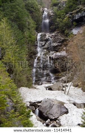 A pacific northwest waterfall in early spring