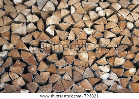 a pack of chopped and stacked wood