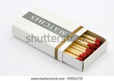 A package of matches, isolated on white background.