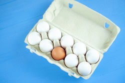 a package with a dozen white eggs and one brown egg