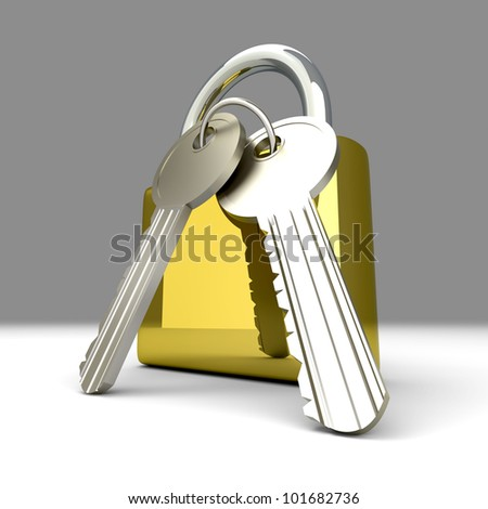 A padlock with keys. 3D rendered Illustration.