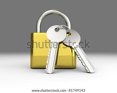 A padlock with keys. 3D rendered Illustration.