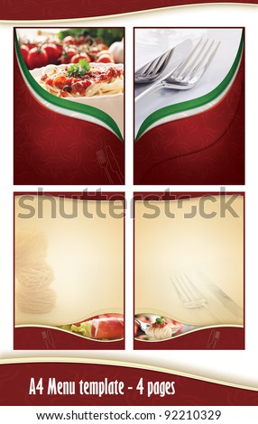 A4 4 pages Menu template - Italian restaurant. Front anf back page and two middle pages, but you can create as many as you like. Just place your dishes and prices #92210329
