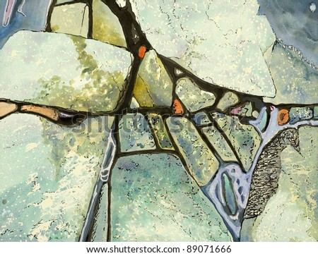 a painted close up view of a rocky beach, done using watercolour and ink - stock photo