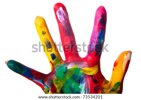 a painted colorful hand close up against white background - stock photo