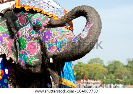 A painted elephant at the Elephant Festival in Jaipur, India
