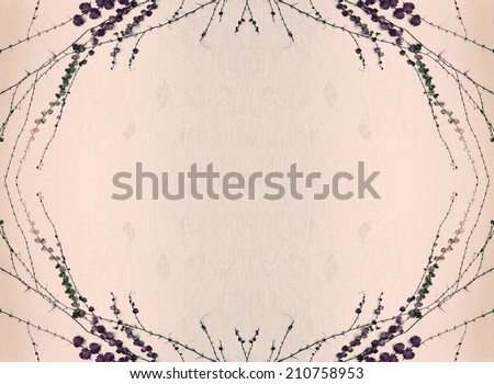 A painted wooden background with grape vines and leaves surrounding border.  Toned.