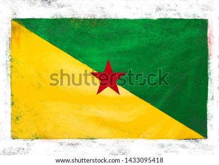 A PAINTING OF FRENCH GUIANA NATIONAL FLAG #1433095418