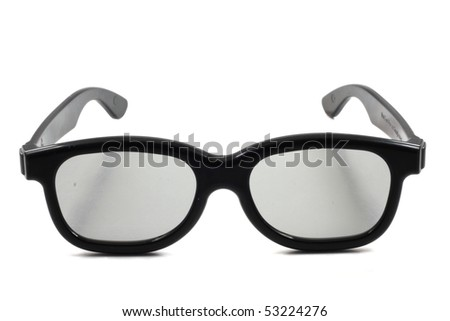 a pair if 3D cinema glasses isolated on a white background.