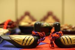 A pair of a mandarin duck used in the traditional Korean wedding, pyebaek.