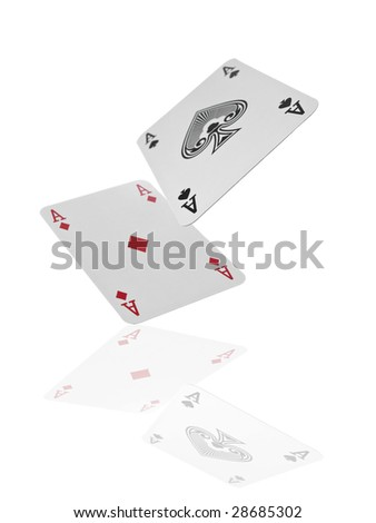 A pair of aces flying over a reflective surface. Isolated on white.