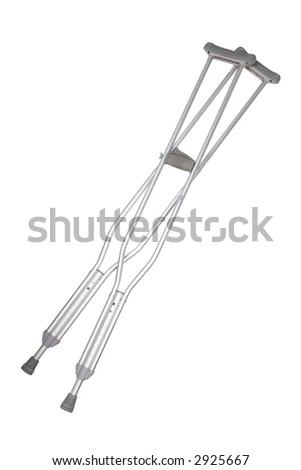 A pair of aluminum crutches isolated on white