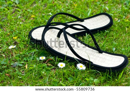 a pair of black flip flops on grass